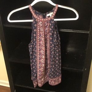 Joie silky patterned halter blouse